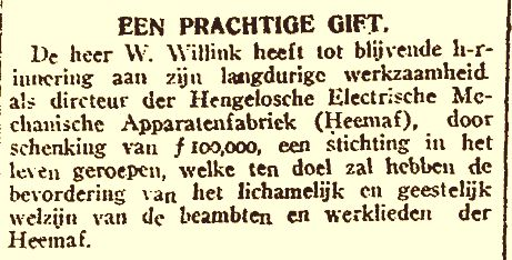 Stichting Willem Willink / schenking (21-02-1920)